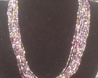 Multi coloured vintage bead necklace. Autumnal colours.