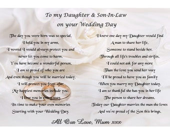 Poem to Daughter and Son in law on your wedding day from Mum