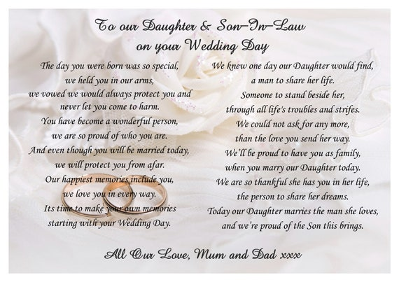 Wedding Anniversary Inspirational Poems Daughter Son In Law: Poem To Daughter And Son In Law On Your Wedding Day From