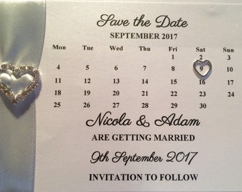 Calender style save the date cards