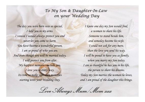 Spiksplinternieuw Gedicht aan zoon en dochter-in-Law op uw trouwdag van | Etsy IV-41