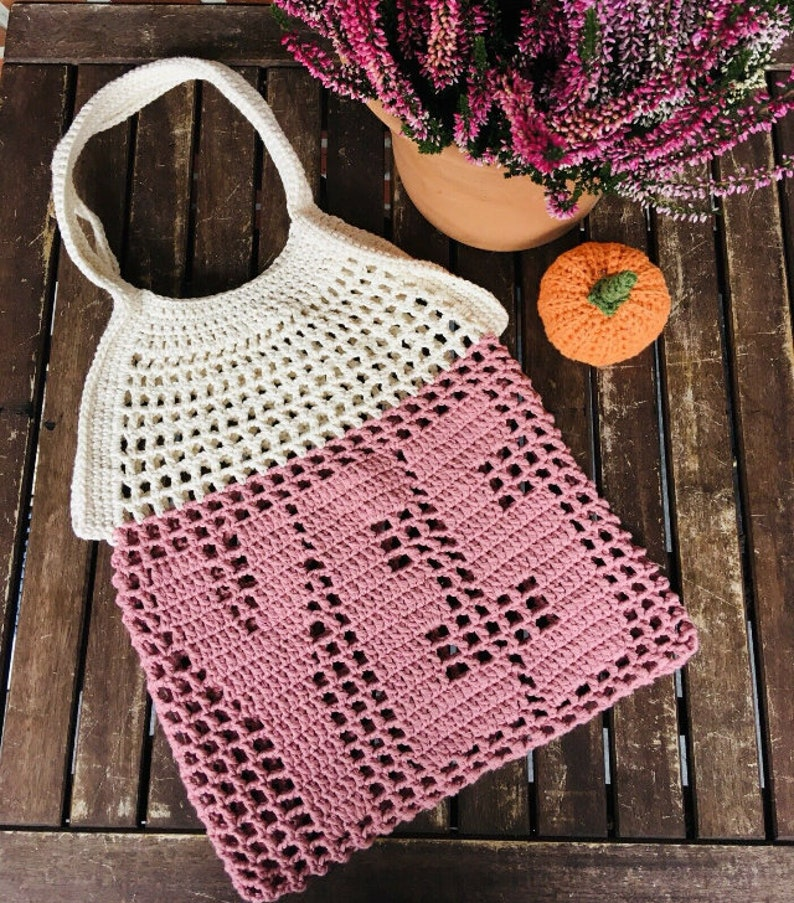 crochet shopping net  crochet net made of 100/% cotton with your desired initials and colours