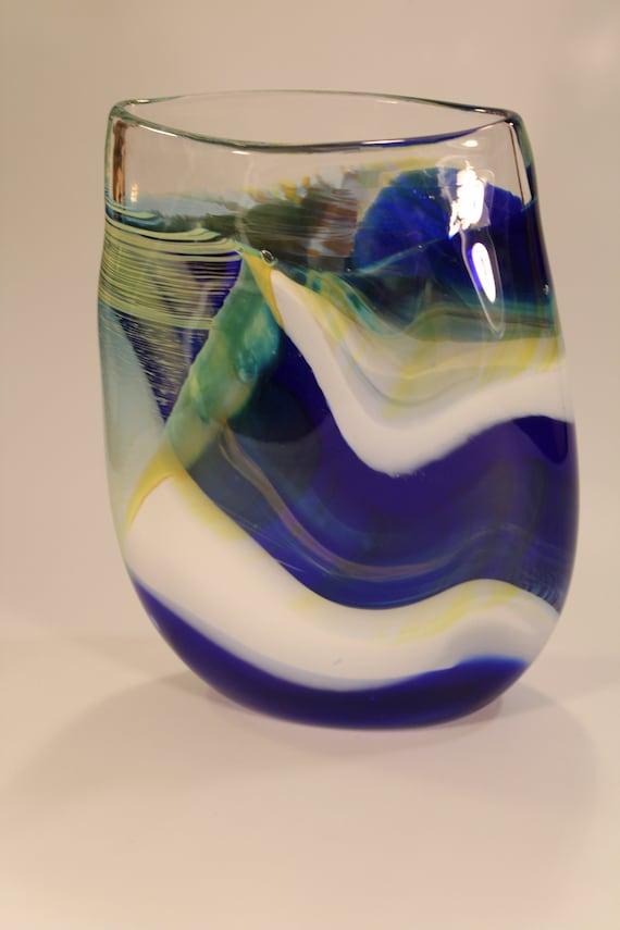 White Blue Yellow Handblown Glass Vase Etsy