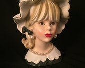 Rare Relpo K 1782 Lady Head Vase Pearl Necklace and Earrings 1950 Glam Gold Trimmed Hat Red Lipstick