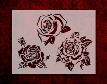 Small roses stencil flowers  stencil Notebook Stencilrose bud templatecute flower  stencil Bullet Journal Stencil plastic Stencil