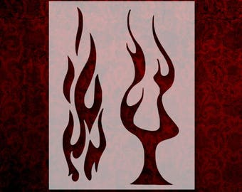 picture relating to Flame Stencils Free Printable identify Flame stencil Etsy