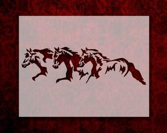 Template Reusable 10 mil Mylar Stud Horse Stallion Horses Galloping Stencil