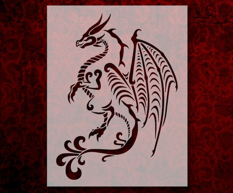 Tribal Full Body Dragon Stencil Multiple Sizes FAST FREE SHIPPING 544