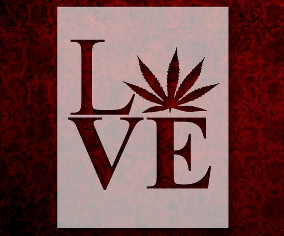 Love Marijuana Weed Leaf Stencil Multiple Sizes Fast Free Etsy