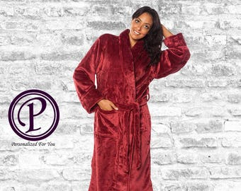6 Colors Microfleece Shawl Collar Robe, Plush Robe, Monogram Robe, Embroidered Couple Robe, Adult Men Women Robe, Holiday Gift, Soft Robes
