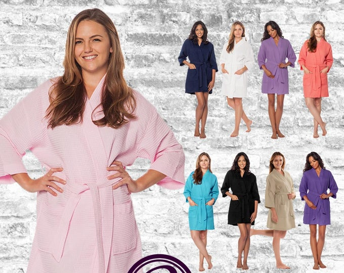 Featured listing image: 17 Colors Plain Waffle Kimono Bridesmaid Robes, Wedding Day Robe, Bridesmaid Gift, Bridal Robe, Spa Robe
