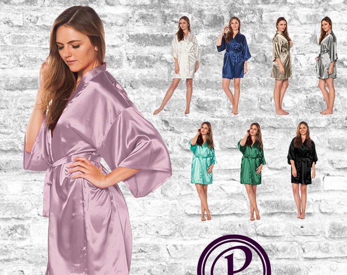 Featured listing image: 17 Colors Plain Satin Kimono Bridesmaid Robe, Wedding Day Robe, Bridesmaid Gift, Bridal Robe, Satin Robe