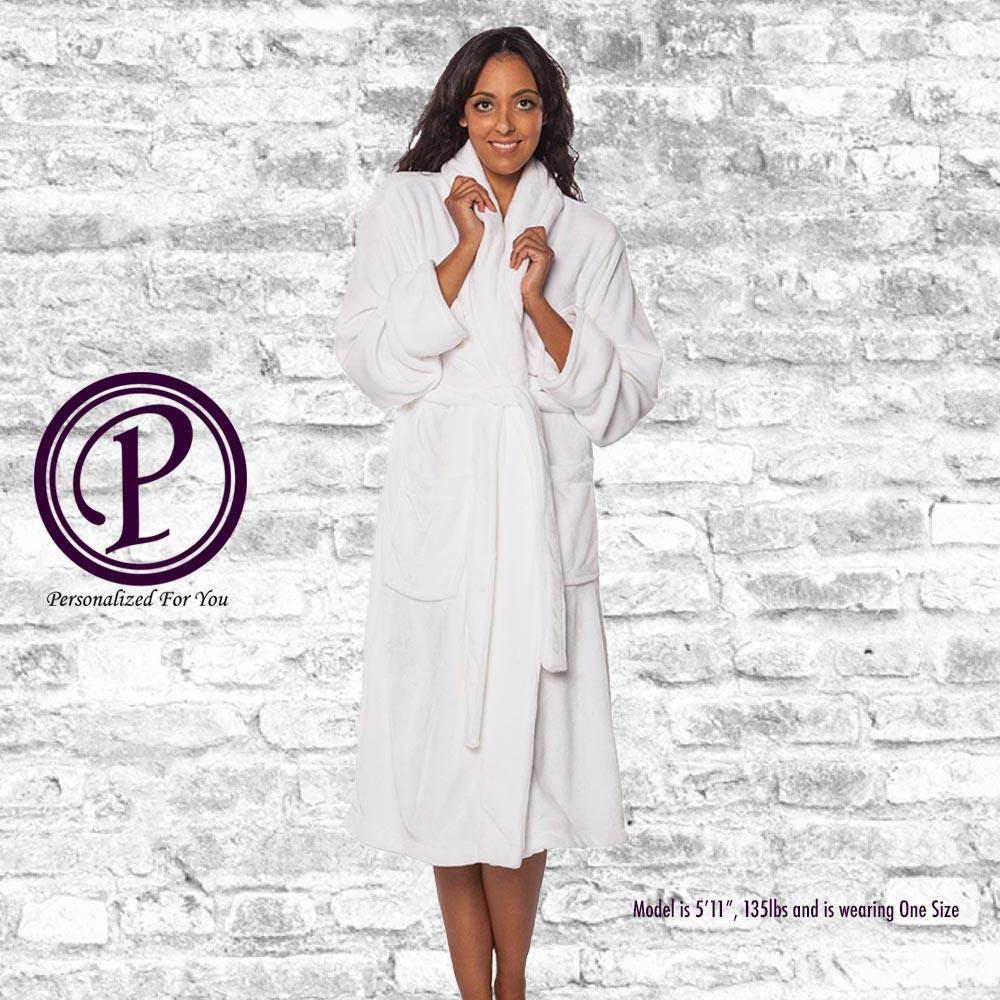 White Microfleece Shawl Collar Robe 0194b1ac7