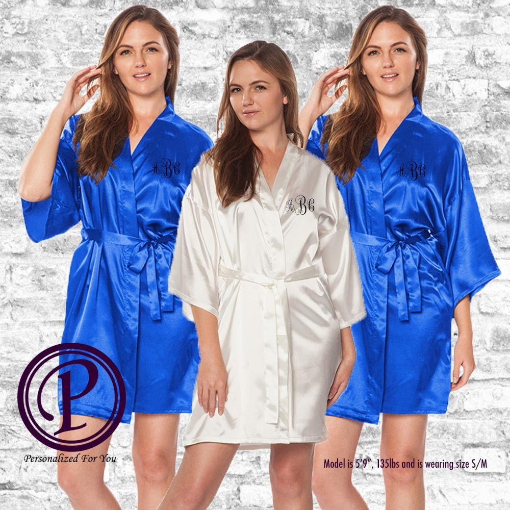 newest selection best choice moderate cost Bridal Set White & Royal Blue Satin Kimono Bridesmaid Robes ...
