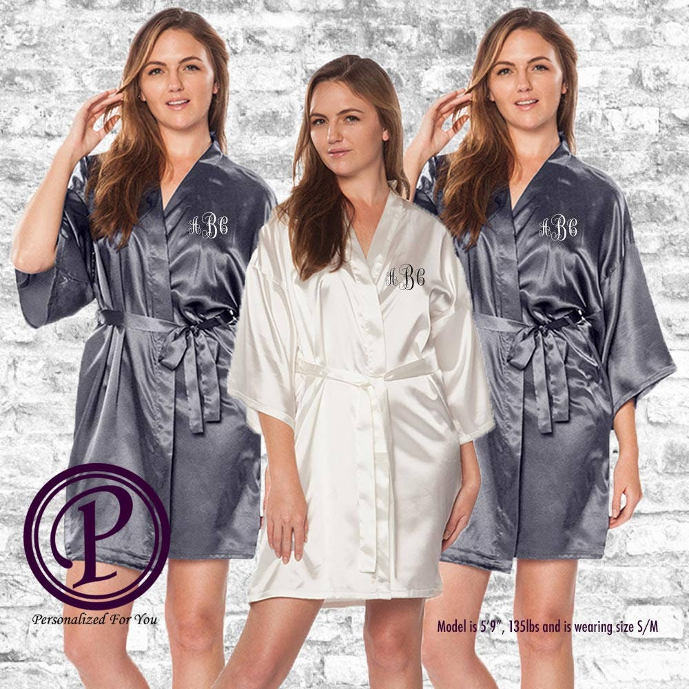 2a26e68220 Bridal Set White   Charcoal Satin Kimono Bridesmaid Robes ...