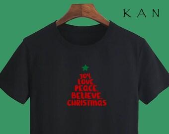 Christmas T shirts Joy Love Peace Christmas T shirts Christmas Gift T shirts Golden T shirts sayings Party T shirts X'mas Party T shirts