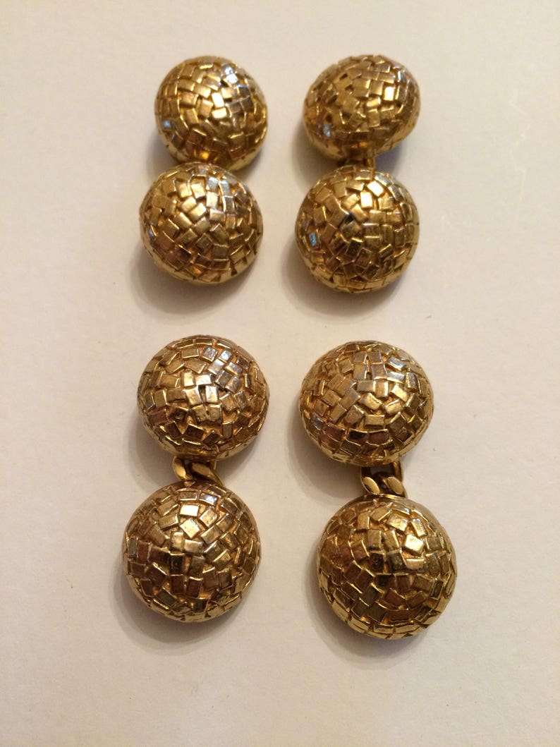 Vintage Antiqued Gold Metal Cufflinks Raised Design Chain Link Cuffinks Domed 2 Pairs