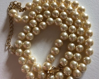KJL Magnificent 2 Strand Glass Pearl Necklace