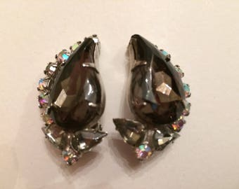 Large Smoky Grey Glass Clip On Earrings