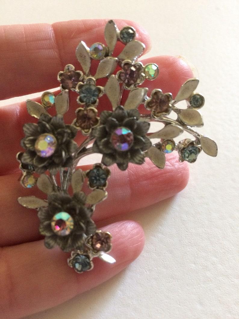 BSK Enamel /& Rhinestone Flower Brooch Vintage Brooch Designer Signed Enamelled Flowers and Leaves Pin Aurora Borealis