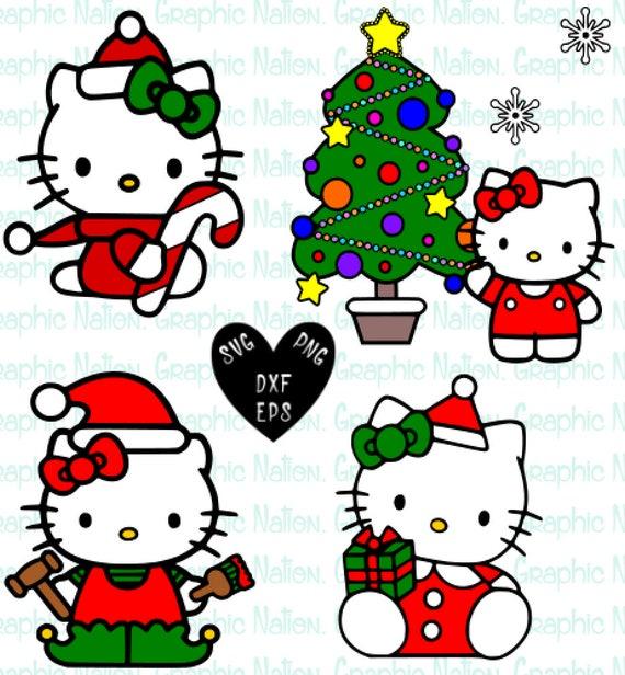Hello Kitty Christmas Tree.Hello Kitty Christmas Sanrio Clipart Hello Kitty Holiday Cricut Silhouette Cut Files Svg Png Dxf Eps