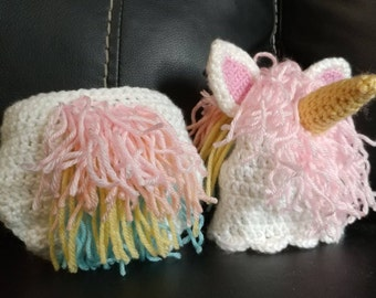 Crochet Unicorn hat and diaper cover set available in several sizes in pastels