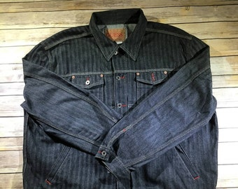Vintage GUESS USA Long-Sleeve Denim Jacket Men's 3XL Size Casual Outerwear Jacket Charcoal Gray Faded Black Color 2 Chest Pockets