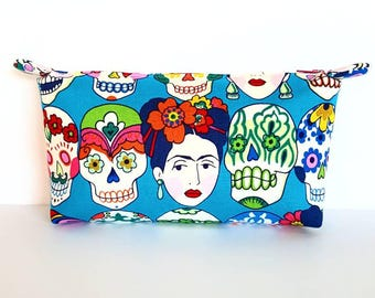 Frida and Skulls Bag, Frida Kahlo Cosmetic Bag, Frida Kahlo Zipper Pouch, Frida Pencil Case, Gift, Birthday, Frida Craft Storage, Multi Use