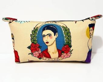 Viva Frida Makeup Bag, Frida Kahlo, Frida Kahlo Cosmetic Bag, Frida Kahlo Zipper Pouch, Tan Makeup Bag, Tan Purse, Frida, Gift, Birthday