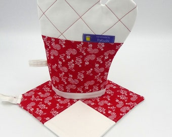 Set pot glove and pot holder Red chickens
