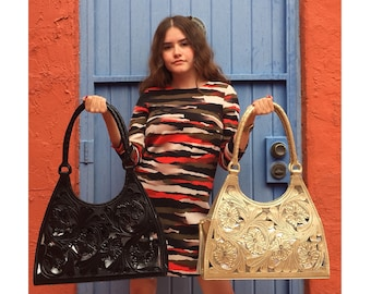 Sandra - Gorgeous Night black, Hand Tooled Leather Handbag; Talabartería from Mexico. Perfect Gift for Mother's Day