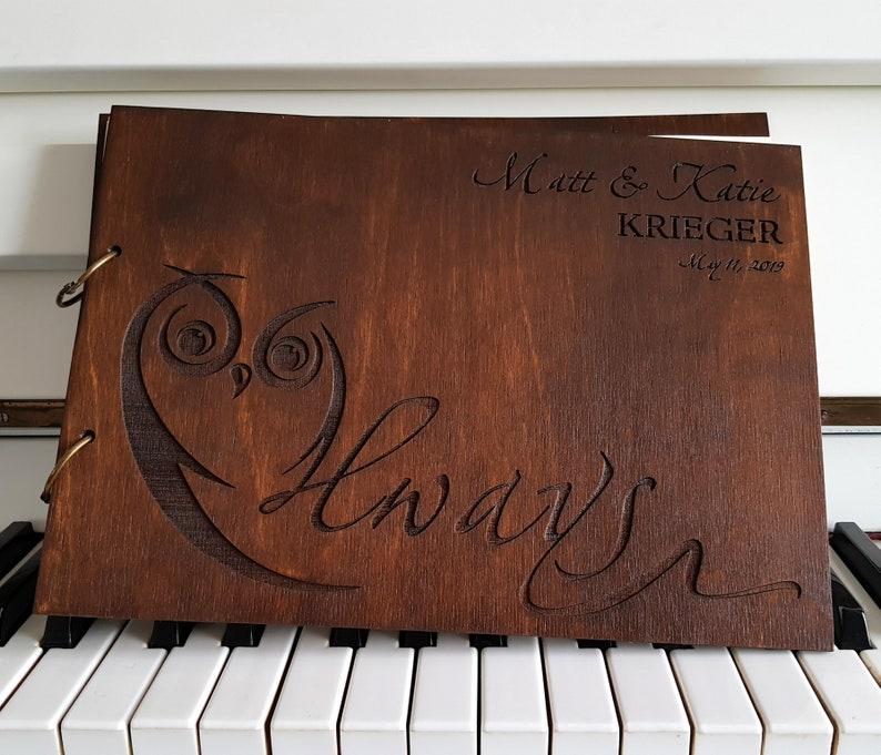 Wedding Guest Book Wood Guest Book Personalized GuestBook Wooden Guest Book Owl Guest Book Rustic Wedding Guest Book Always Baby Shower gift