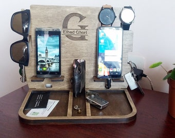 Twin Docking Station Birthday Husband gift for Men Birthday Double Charging Iphone Wood Docking Station Personalization Organizer Wooden
