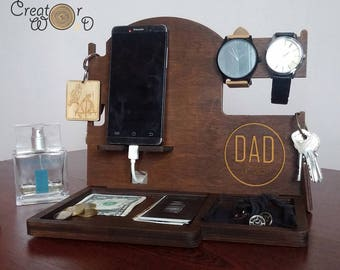 Birthday Husband gift for Men Birthday Charging Iphone Wood Docking Station Wood Organizer Wood Dock Personalization gift Anniversary