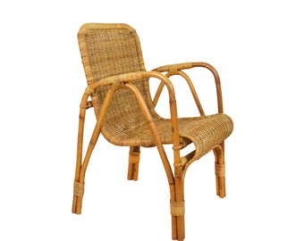Rattan Chair with Armrests Boho, Vintage, Mid Century