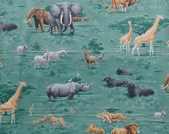 "Vintage ""African savanna""-43 x 43 inc Inc. fabric.  (110 cm x 110 cm) - elephants-Zebra-giraffes-Buffalo-lions - 1990"
