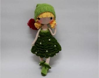 Crochet Garage, Crochet doll pattern / Amigurumi doll pattern - MERRY / Christmas gift / Christmas collection