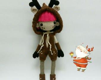 Crochet garage, Crochet doll pattern / Amigurumi doll pattern - REINEE, Christmas gift, Christmas collection