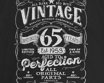 65th Birthday In 2018 1953 Shirt Legend Mens T Gift Present 65 Years Old Est VIN