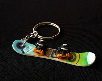 Personalized mini copy of the original  Snowboard / Keychain / snowboarder gift