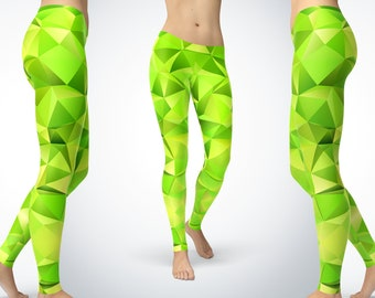 067f492a5e8c1 Lime Green Leggings For Women Lime Green Pattern design Yoga Leggings Yoga  Pants Capri Yoga Pants Sport Stretch Leggings Fitness Workout