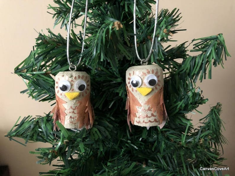 Champagne Wine Cork Owl Christmas Tree Ornaments Set Of 2 Hand Painted Ivory Rose Gold Holiday Decoration Wine Bottle Charm Xmas Gift Tag