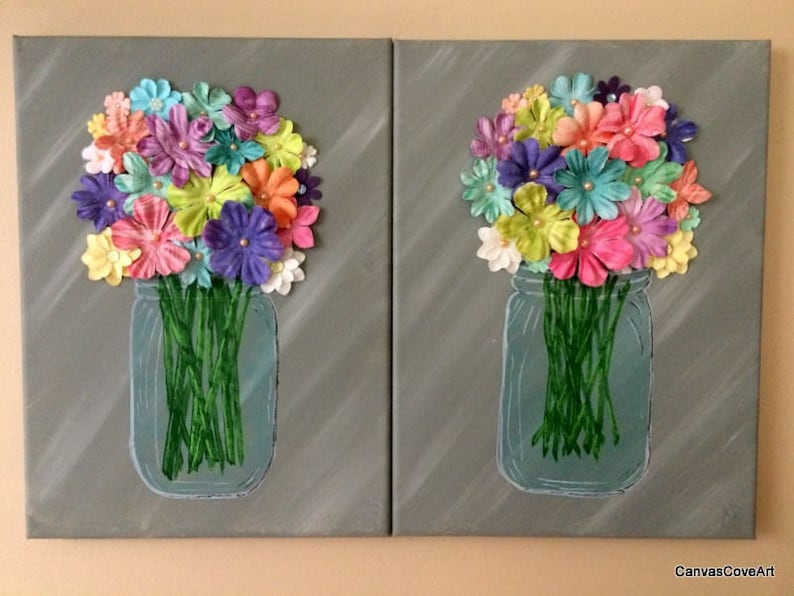 2d95b35f9ef9 2 Hand Painted glass Mason Jars with 3D Flower embellishments