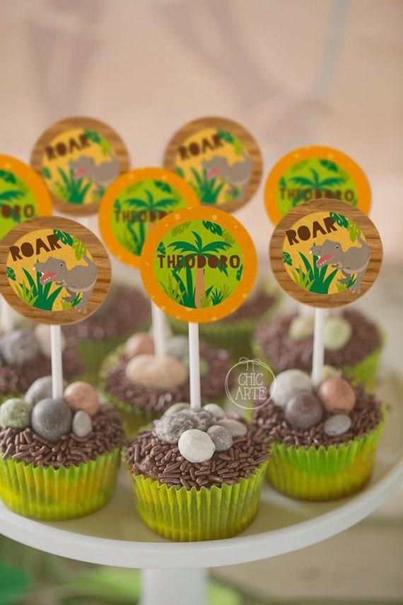 DINOSAUR THEME PERSONALISED BIRTHDAY PARTY CAKE  SET//TOPPER//CUPCAKE PICKS