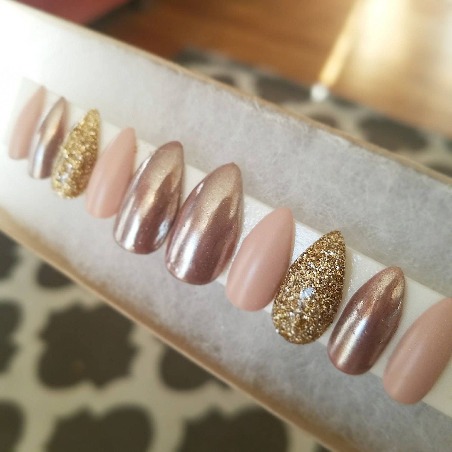 Nude and rose gold with gold accent nails|Any size or shape|Fake ...