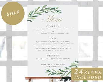 Greenery Wedding Menu Cards With Gold Calligraphy DIY Editable Card Printable Sign Templates INSTANT DOWNLOAD