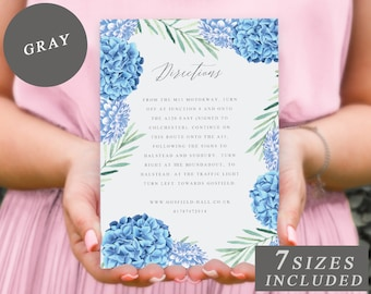Blue Floral Direction Cards, Printable Wedding Stationery, Wedding Directions Template, Blue Flower Wedding Insert Cards INSTANT DOWNLOAD