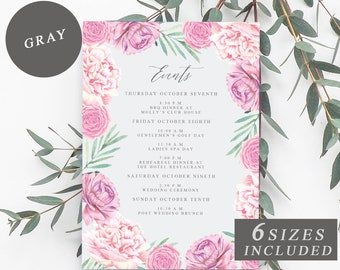 Pink Floral Wedding Day Itinerary Card, Wedding Weekend Timeline, Pink Flowers Agenda Template, Welcome Bag Events Card INSTANT DOWNLOAD
