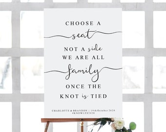 INSTANT DOWNLOAD Please Take A Seat Not A Side As We Are All Family Once The Knot Is Tied Sign Seating kraft DIY Rustic Wedding Sign