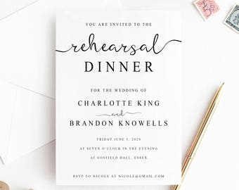 Printable Rehearsal Dinner Invitation Template, The Night Before Invitation, Rehearsal Diner Invite Card,  Pre Wedding Party Invitation